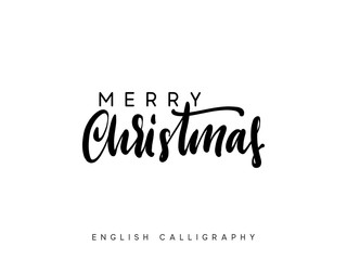 Text Merry Christmas. Xmas hand drawn calligraphy lettering.