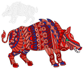 Illustration of abstract red pig, swine and painted its outline on white background , isolate