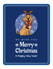 greetings card We wish You a Marry Christmas and Happy New Year, funny Labrador