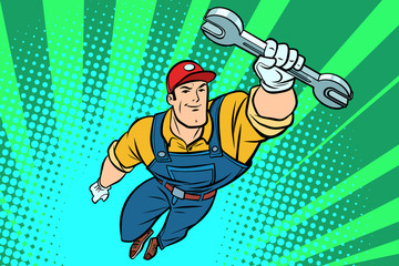 Male repairman with a wrench flying superhero
