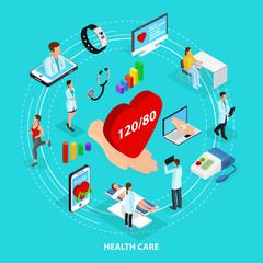 Isometric Digital Medical Care Concept