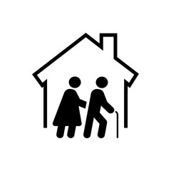 Icono plano residencia ancianos negro en fondo blanco