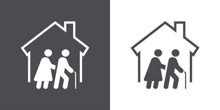 Icono plano residencia ancianos en fondo gris y fondo blanco