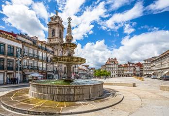 GUIMARAES, PORTUGAL - JUNE 16, 2016: Toural Square (Largo do Toural), in the city center of Guimaraes, Portugal.