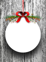 Blank round decorated Christmas frame red ribbon
