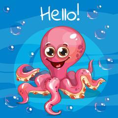 Vector illustration of cartoon octopus. Hello.