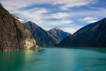 Snow-covered mountain peak from Tracy Arm Fjord, Alaska