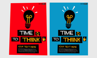 Time To Think!  (Flat Style Vector Illustration Poster Design) with Text Box Template