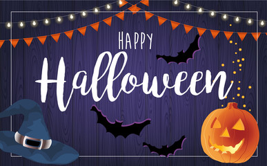 Happy Halloween vector illustration with pumpkin, card design template