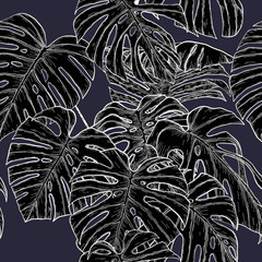 Monstera pattern by hand drawing.Monstera vector seamless on vintage background.Vector leaves art highly detailed in line art style.Monstera is plant of tropical.Leaf for paint to pattern or wallpaper