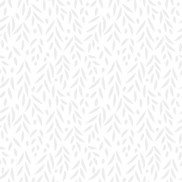 Grey leaves subtle white seamless pattern, vector