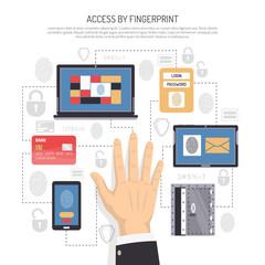 Access By Fingerprint Flat Illustration