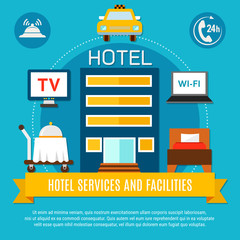 Hotel Services And Facilities Vector Illustration