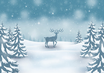 Reindeer winter landscape background