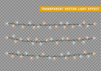 Christmas lights isolated realistic design. Lights garlands color white and orange. Glowing Xmas decorations.