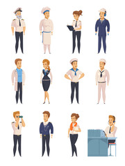 Yacht Ship Cartoon Characters Set