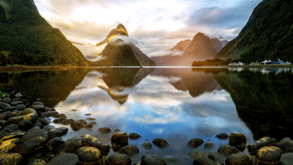 Beautiful Sunrise in Milford Sound, New Zealand Wall mural