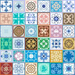 Vintage set of checkered ceramic tiles.