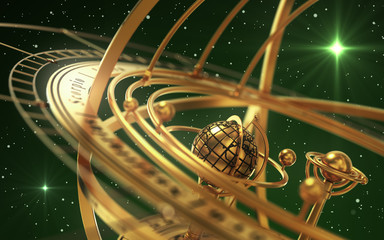 Armillary Sphere And Stars On Green Background