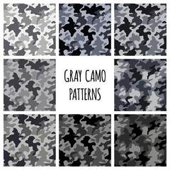 Modern fashion vector trendy gray camo patterns set.