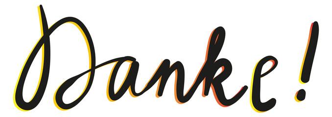 Handlettering Danke! Schriftzug in Schreibschrift, Handschrift in Verlauffarben, neon, schwarz
