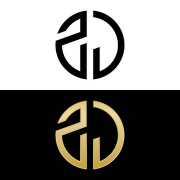 zj initial logo circle shape vector black and gold