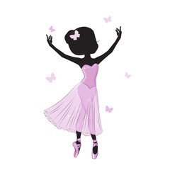 Silhouette of cute little ballerina in pink dress isolated on white background.  Vector design. Print for t-shirt. Romantic hand drawing illustration for children.