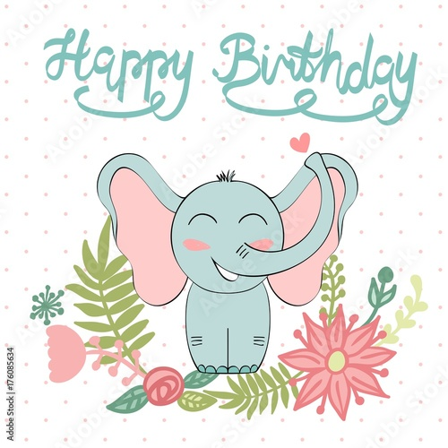 Cute Artistic Card For Kids Elephant And Flowers Greeting Card For