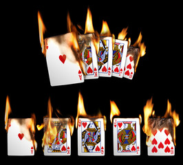Real Burning Playing Cards with red hot Flames Isolated on Black Background: Royal Flush