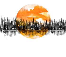 Seamless Pattern. Watercolor landscape, black silhouette of trees.spruce, pine, cedar. Forest landscape, reflection of trees in a river, lake. Orange sun, sunset, sky. Vintage drawing, border.