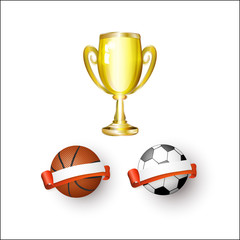 vector flat sport equipment set. Football or soccer, basketball ball with ribbon blank banners ,golden winner cup, first place trophy award objects . Isolated illustration on a white background