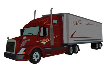 truck, semi truck, loader, vector illustration
