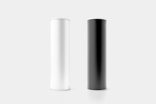 Blank black and white cardboard cylinder box mockup with plastic lid, 3d rendering. Clear cyllindrical tube container with cap mock up. Snack or bottle carton packaging template. Tin round canister.