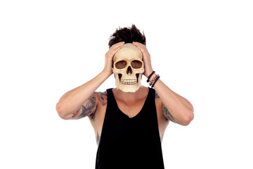 Dark guy with a human skull. To be or not to be