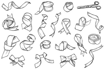 Hand drawn set of vintage ribbon