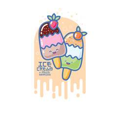 Kawaii smiled ice cream illustration. Colorful ice cream on a stick. Japanese style picture.