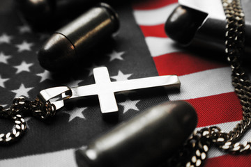 Religious Cross With Bullets & American Flag