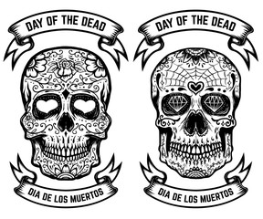 Day of the dead. Dia de los muertos. Set of the sugar skulls. Design elements for poster, greeting card, banner. Vector illustration
