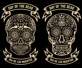 Day of the dead. Dia de los muertos. Set of the sugar skulls.
