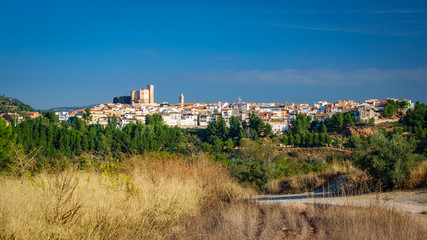 Cofrentes town and castle panoramic view