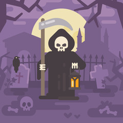 Grim reaper with a scythe and a lantern on an old cemetery at night. Trick or treat. Halloween flat illustration