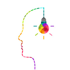 Creative mind and innovation concept with colorful light bulb and dotted line