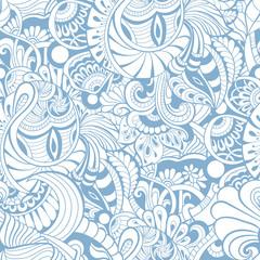 white seamless pattern on blue background.