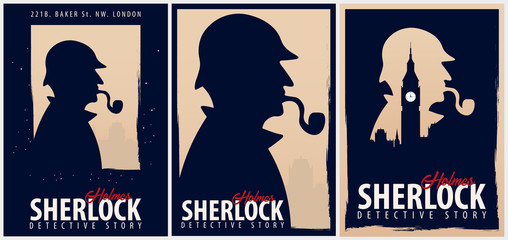 Set of Sherlock Holmes posters. Detective illustration. Illustration with Sherlock Holmes. Baker street 221B. London. Big Ban.