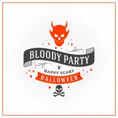 Happy Halloween Badge, sticker, label. Design element for greeting card or party flyer. Vector illustration