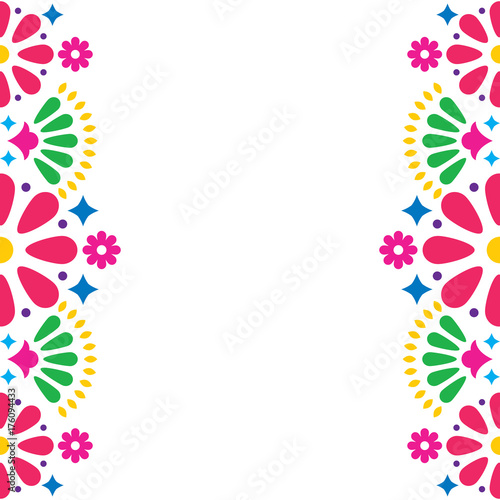Mexican Folk Vector Wedding Or Party Invitation Greeting