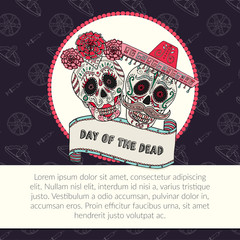 Sugar skull calavera Catrina vector illustration for Day of the Dead