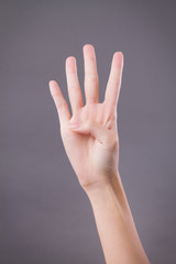 hand showing, pointing up 4 fingers, number four hand gesture