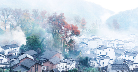 Rural landscape in wuyuan county, jiangxi province, china.