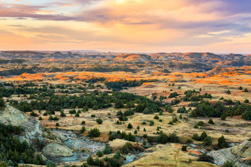 The moments before sunrise in Theodore Roosevelt National Park, North Dakota